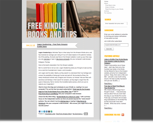 Wordpress website developed for Free Kindle Books and Tips
