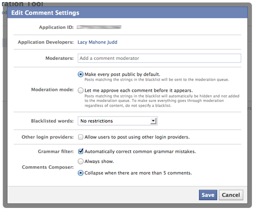 Facebook comments moderation panel settings